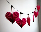 Valentine Heart Garland, Hot Pink Valentine, Party Decor, 6 Fun & Colorful Valentine's Day Ornament or Birthday Decoration