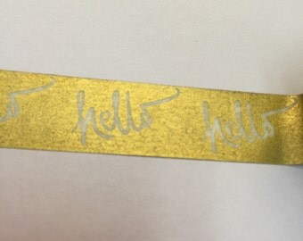 Gold with white hello washi tape sample