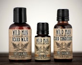 Beard Care Gift Set Wild Man THREE PACK Beard Oil Conditioner, Beard Wash and Stud Tonic Serum