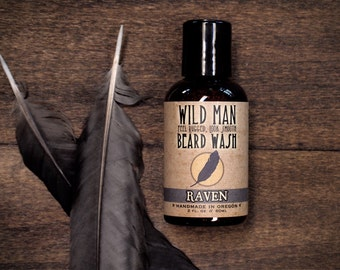 Beard Wash Soap Wild Man RAVEN Beard Shampoo - 60ml // 2oz Grooming Gift