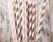 """75 Chocolate Blush mixed combo barber striped paper drinking straws , FREE DIY Flags.  See also - """"Personalized"""" flags option."""
