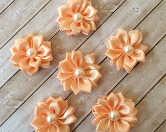 """Small peach Fabric Flowers with pearl center  (6 pcs)  - 1.5"""" Satin ribbon flowers with pearl centers  flat back - Sweetheart accent flowers"""