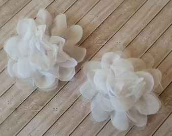"white sheer chiffon & tulle Flowers - 2 count White 3.75""  fabric flowers Shabby Chic Chiffon white wedding flowers wholesale Flowers"