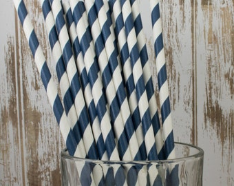 "100 Navy Blue and white barber striped paper drinking straws -  with FREE DIY Flag Template.  See also - ""Personalized"" flags option."