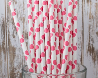 """100 Red polka dot paper drinking straws - with FREE DIY Flag Template.  See also """"Personalized"""" flags option."""