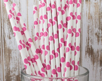 """25 Raspberry Pink Polka Dot paper drinking straws - with FREE Blank Flag Template.  See also """"Personalized"""" flags option."""