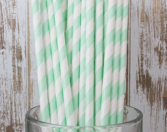 25 Mint Green vintage striped paper drinking straws - with FREE Blank Flag Template
