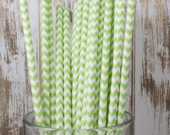 100 Ct Light Green Chevron vintage striped paper drinking straws - with FREE DIY Flag Template