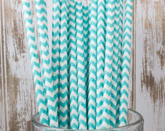 100 Ct Light Aqua Chevron vintage striped paper drinking straws - with FREE DIY Flag Template