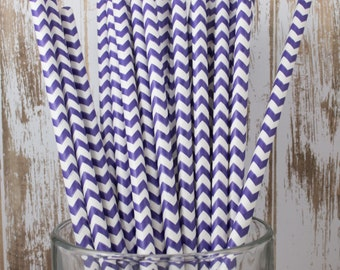 25 Ct Purple Chevron vintage striped paper drinking straws - with FREE Blank Flag Template