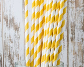 "100 Yellow Extra Long vintage barber stripe drinking straws - with FREE Blank Flag Template - see also ""Personalized"" Flags"