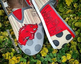 Arkansas Razorbacks hand painted shoes