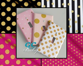 Gold Polka Dot Light Switch and Outlet Covers - 12 Fabrics Mint Green, Purple, Light Pink, Hot Pink, Black - Rocker, Pole, Duplex, Plug