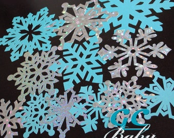 """6"""" to 12"""" Brilliant Large Paper Snowflake Collection: 12 Total Glitter, Metallic & Holographic in White, Silver or Blue - Party, Decoration"""