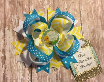 Funky and bright loopy mix and match yellow chevron EASTER hair bow Boutique Hair bow