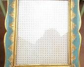 "Vintage Florentine Picture Frame / Wooden Aqua & Gold Gilt / 7 3/4"" X 9 1/2"" Opening"