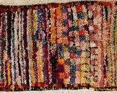 FREE SHIPPING WORLDWIDE TT19270 vintage boucherouite rug, moroccan rugs , rag rug, berber tribal art, morocco carpets, wall art