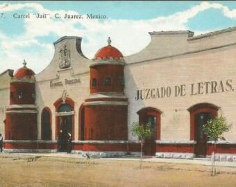 Carcel Jail C Juarez Mexico 1915 Curt Teich Vintage Postcard
