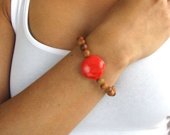 Beaded Bracelet with Coral Accents