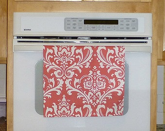 Damask Coral Kitchen Hand Towel - Damask Coral/White