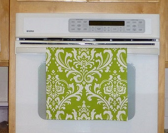 Green Kitchen Hand Towel - Damask Green Apple Decorative Kitchen Towel