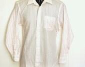 Mens Long Sleeve Dress Shirt Medium Vintage Designer Christian Dior Collared Button Up Oxford Plus de' Coton 1970's