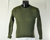 Vintage US Marines Sweater Military Pullover 32 XXSmall Men Boys Unisex Army Green Wool Jumper w/ Shoulder Elbow Patches