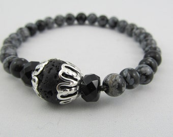 Ready to ship stretchy mala bracelet - 6mm in snowflake obsidian with onyx and lava rock - 27 beads mala bracelet