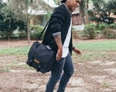 Black / Commuter Pannier, waxed canvas bicycle bag