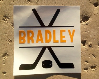 Hockey Decal, Sports Decal, Personalized Decal, Monogram Decal, Vinyl Decal, Car Decal, Hockey Sticker, Sport Sticker, Yeti Decal, Decal