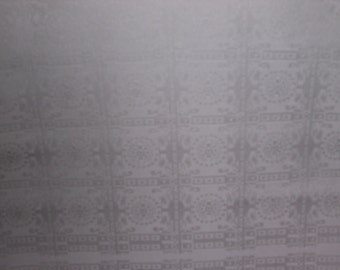 SALE  WHITE on WHITE Vintage Japanese Kimono silk fabric  small block medallion  14 x 72 inches