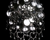 Synnove - Sami Risku Style Norwegian Solje Silver Plated Filigree Bunad Brooch Pin with Silver Plated Hearts, Discs and Drops