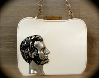 Lincoln Purse Vintage White with Silver and Black Metal Profile