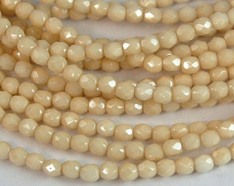 Opaque Champagne Luster Czech Glass Bead 4mm Faceted Round - 50