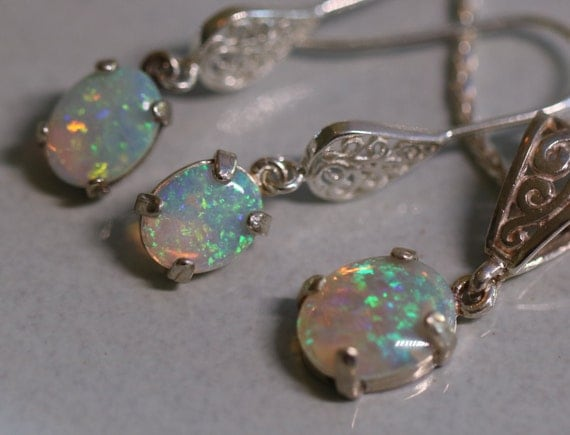 Australian Opal Sterling Silver Filigree Jewelry Set