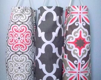 SALE 9.99 Bag Dispenser, Reusable Bag, Plastic grocery bag holder, Recycling Bag, Plastic Dispenser, Choose Your Fabric