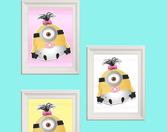 Baby  Girl Minions Wall Decor Set of Three Instant Download PRINTABLE art print measuring 8x10 inches