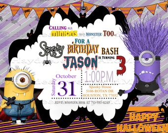 Minions Halloween Birthday Bash Invitation!