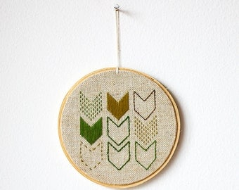 "Hanging decor - Chevrons green - Embroidery in wooden hoop 5"" - Geometric - Minimalist  - Wall decor - Wall art - Small - Natural materials"