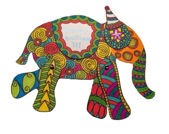 Downloadable Color Your Own - Elephant Card