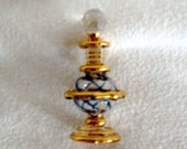 Miniature Crystal Scent Bottle with Gold and Blue Accents