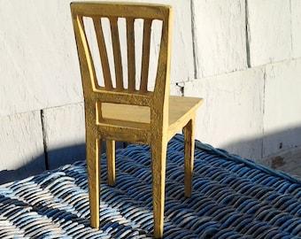 Designer Miniature Fafner Singo Cast Iron Chair in Distressed Yellow