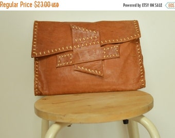 SALE Raw Leather Clutch bag Handbag Pouch vtg 80s