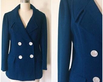 Vintage 1960s Saks Fifth Avenue Pea Coat / 60s Pea Coat in Blue