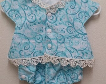 CLEARANCE Baby Infant Bubble Suit Romper - Blue Swirls with Lace Accent - 3 Months