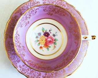 Paragon Teacup and Saucer / Purple Floral Vintage Tea Cup