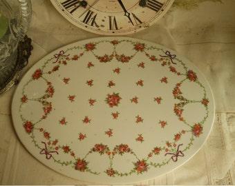 Vintage French Louis XVL Pink Rose Porcelain Tea Trivet Antique Porcelain Tea Trivet Home & Living Decor French Porcelain Trivet