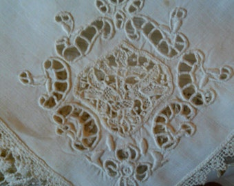 Vintage White Cutwork And Scalloped Lace Napkin/ Bun and Biscuit Cover Large Tea Napkin