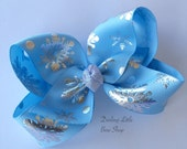 "Snowflake Bow -- beautiful boutique bow made with light blue and silver snowflake ribbon, choose 4"" 5"" or 6-7"" bow"