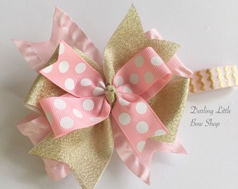 Pink and Gold Bow -- Layered bow made with beautiful pink and gold ribbon -- optional elastic headband
